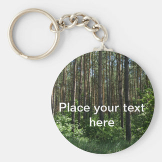 Green Coniferous Forest Trees Key Ring Basic Round Button Key Ring