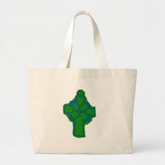 Green Coptic Cross Jumbo Tote Bag