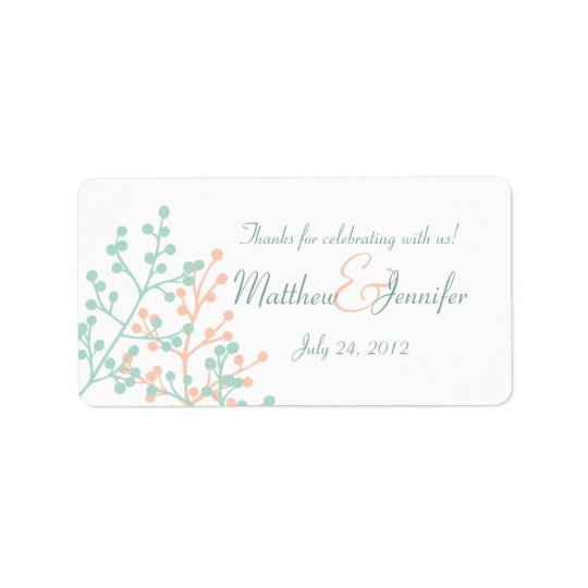 Green & Coral Custom Wedding Favour Label Stickers Address Label