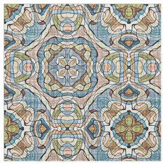 Green Coral Orange Blue Bali Batik Style Pattern Fabric