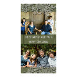 Green Cottage Wood Country Two Photo Holiday Cards Photo Greeting Card