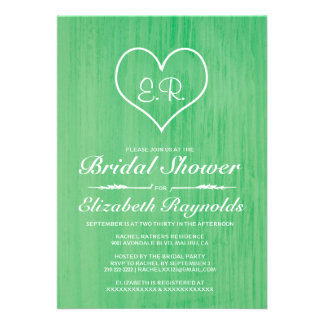 Green Country Bridal Shower Invitations Invites