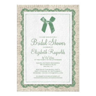 Green Country Burlap Bridal Shower Invitations Card
