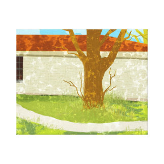 Green country house Stretched Canvas Print