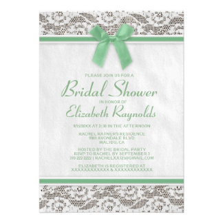 Green Country Lace Bridal Shower Invitations Personalized Announcement