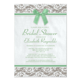 Green Country Lace Bridal Shower Invitations