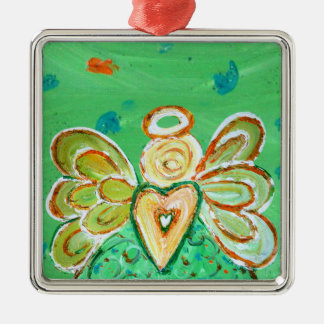 Green Courage Christmas Angel Ornament