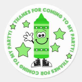 Green Crayon Birthday Party Thank You Sticker