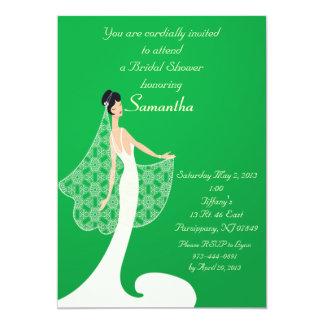 """Green & Cream Bride Bridal Shower Invitation 5"""" X 7"""" Invitation Card"""