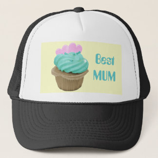 Green Cream Cupcake and Pink Hearts Trucker Hat