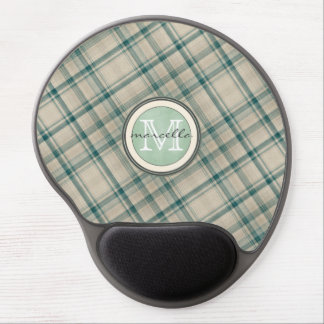 Green Cream Plaid Monogram Gel Mouse Pad