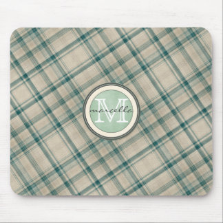 Green Cream Plaid Monogram Mouse Pad
