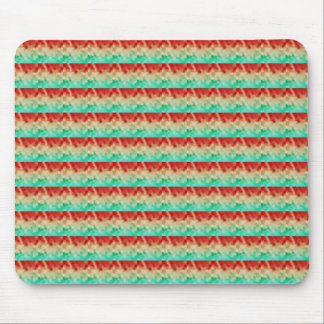 Green Cream Red Artistic Square Pattern Mouse Pad