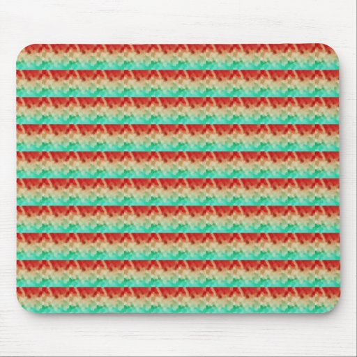 Green Cream Red Artistic Square Pattern Mousepads