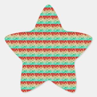 Green Cream Red Artistic Square Pattern Star Sticker