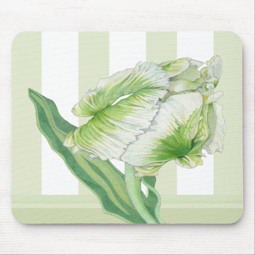 Green Cream Tulip Mousepad
