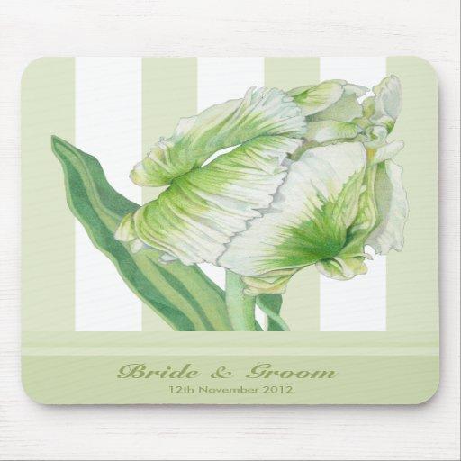 Green Cream Tulip Wedding Mousepad