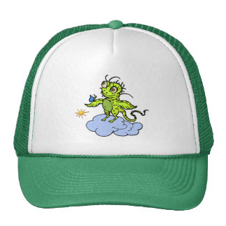 Green Creature and Butterfly Mesh Hat