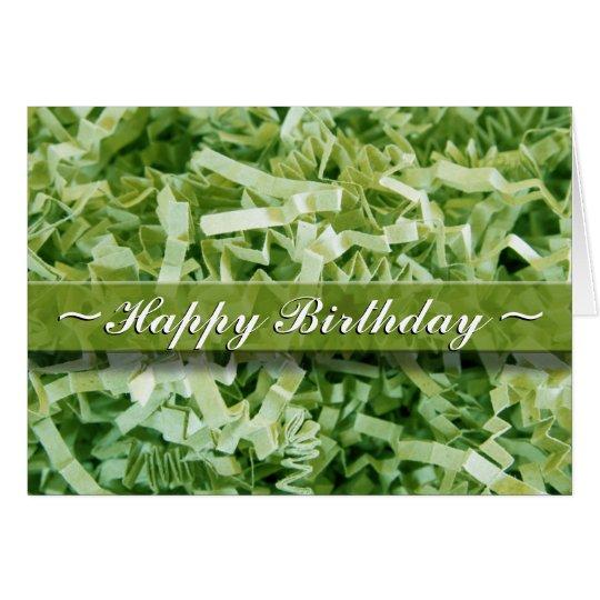 Green Crinkled Shreds Card
