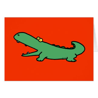 Green crocodile greeting cards