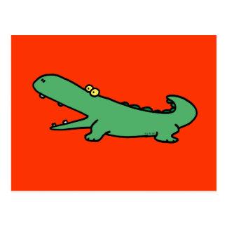 Green crocodile postcard