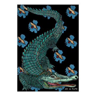 Green Crocodile with blue and gold Art Deco flower Poster