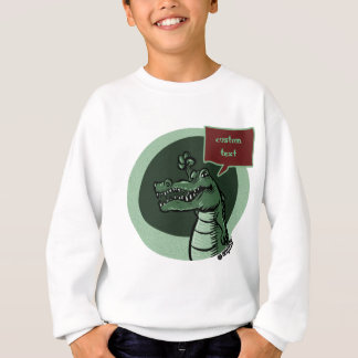 green crocodile with custom text balloon sweatshirt