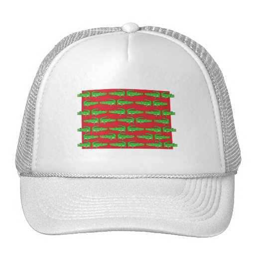 Green Crocodiles On Red Hat