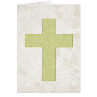 Green Cross 6 Blank Christian Greeting Card
