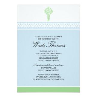 Green Cross Baptism Christening 13 Cm X 18 Cm Invitation Card