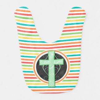 Green Cross; Bright Rainbow Stripes Baby Bibs
