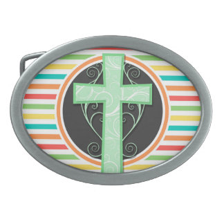 Green Cross; Bright Rainbow Stripes Belt Buckle