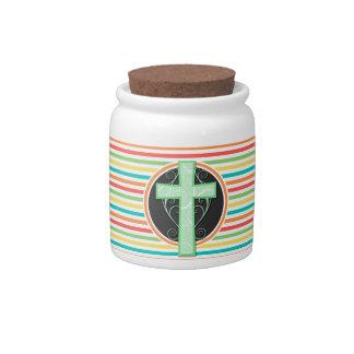 Green Cross; Bright Rainbow Stripes Candy Jar