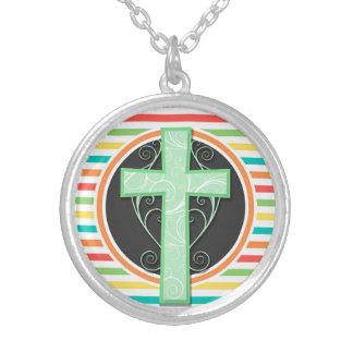 Green Cross Bright Rainbow Stripes Custom Necklace