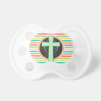 Green Cross Bright Rainbow Stripes Pacifier