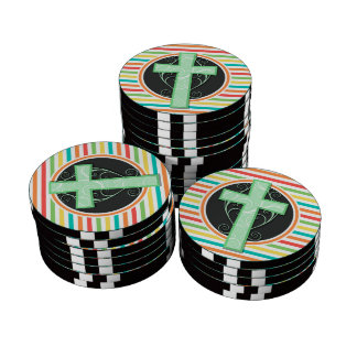 Green Cross; Bright Rainbow Stripes Poker Chips Set