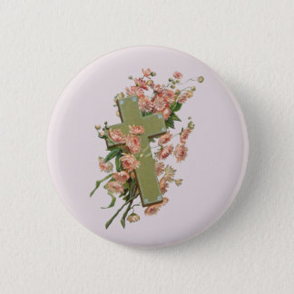 Green Cross With Pink Flowers 6 Cm Round Badge