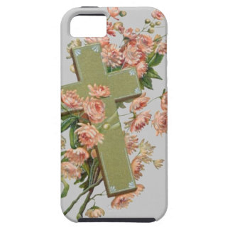 Green Cross With Pink Flowers iPhone 5 Covers