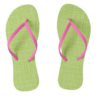 Green Crosshatch Flip Flops