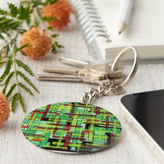 green crystal basic round button key ring