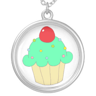 Green Cupcake Round Pendant Necklace