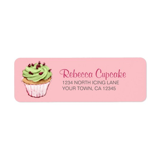 Green Cupcake on Pink Return Address Label