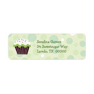 Green Cupcake Return Address Label