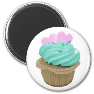 Green Cupcake with Pink Hearts 6 Cm Round Magnet