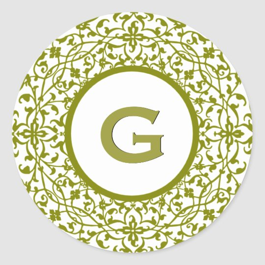 Green Curlicue Lace E Monogram or any Letter