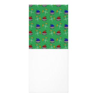 green curling pattern rack cards