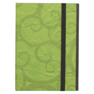 Green curls lines iPad air cover