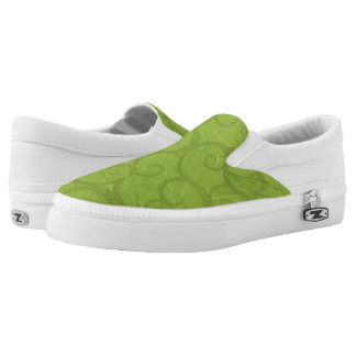 Green curls lines Slip-On shoes
