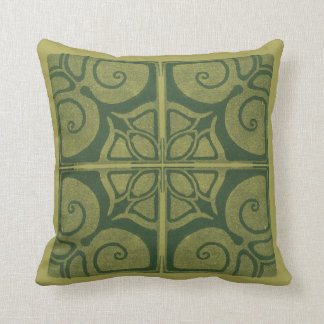 green cushion with art nouveau ornamentation