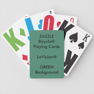 GREEN Custom Bicycle® LoVision® Playing Cards